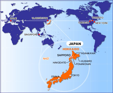 World map showing Japan and especially Hokkaido